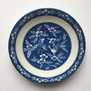 Decorative Plate Blue and White Birds Blossoms